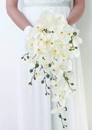 Orchid Bouquet White Orchid Cascade Bouquet Silk Wedding Flowers Afloral Com