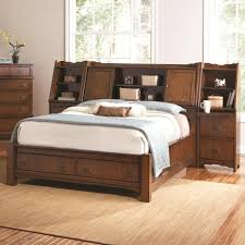Bookcase Bed Frame Retro Brown Mahogany Wood Queen Bed Frame With Built In