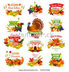 thanksgiving day sale icons autumn seasonal stock vector 722574556