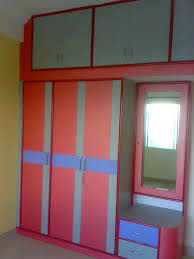 simple wardrobe in grey or red come white painted finish and also