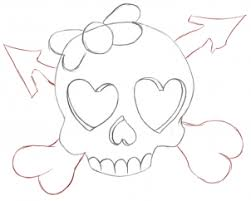 how to draw a heart skull