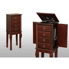 brown jewelry armoire mirrored jewelry armoire box organizer tall stand up cabinet