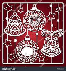 christmas card bells laser cutting laser stock vector 516232996