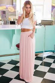 lime lush boutique peach pleated maxi skirt with side pockets