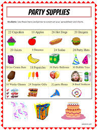 party items excel lesson plan your chart k 5 computer lab