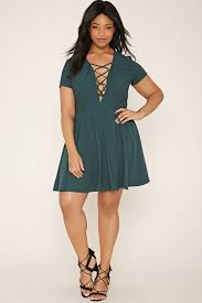 forever 21 plus size lace up dress in green lyst
