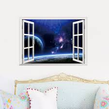 online get cheap outer space decor aliexpress com alibaba group home decors 3d fake window wall stickers outer space universe pattern for living room mural art