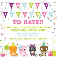 Invitation Birthday Party Card Cat Birthday Party Invitations Vertabox Com