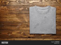 Rough Wooden Table Texture Blank Grey T Shirt Accurately Folded On Rustic Wooden Table Top