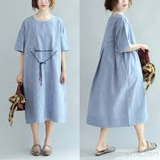 casual summer dresses blue white striped sundress cotton plus size casual summer dresses bracelet sleeve maxi dress1 jpg