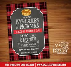 printable plaid flannel pancake and pajamas birthday invitation