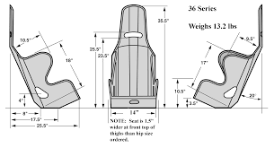 kirkey 36 series intermediate racing seats 15 inch wide