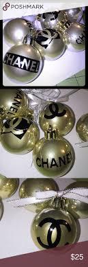 fashion gold ornaments 3x3 inch boutique chanel logo silver