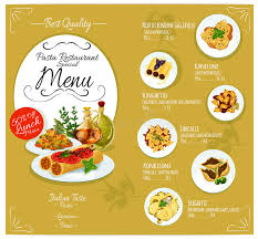 cuisine types pasta menu card template stock vector illustration of cuisine