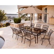 9 Piece Patio Dining Set - traditions 9 piece dining set in tan with extra long glass top