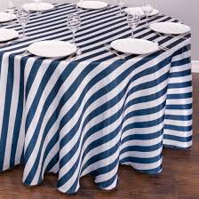 blue and white table runner striped satin tablecloth round navy blue white the pretty prop