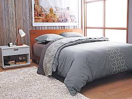 bedroom soft color bedding decor with gray geometric bedding