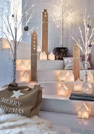 Wohnzimmer Winterlich Dekorieren Deko Haus Set 3 Tlg Weiß Gewischt Mit Fensterausstanzungen