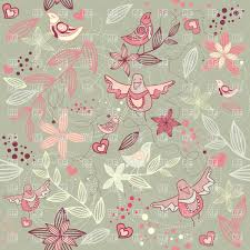 seamless floral romantic wallpaper with cute birds and twigs