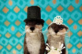 otter cake topper needle felted otter wedding cake topper