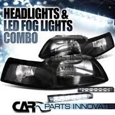 ebay mustang headlights 99 04 ford mustang gt black headlights white 6 led bumper