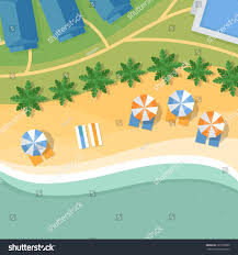 Summer Lounge Chairs Top View Tropical Beach Palm Trees Stock Vector 323703809