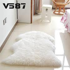 Fluffy Armchair Hairy Carpet Sheepskin Chair Cover Bedroom Faux Mat Seat Pad Plain