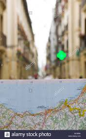 San Sebastian Spain Map by Map Of Coastline Old Town Donostia San Sebastian Spain Stock Photo