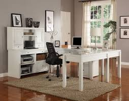 Office Desk Credenza Transitional White Modular U Shaped Office Furniture Desk Credenza