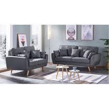 canapé 2 places en tissu lot de 2 canapés 3 places et 2 places tissu gris pieds bois