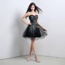 cheapest 2015 black peacock prom dresses short tulle a line