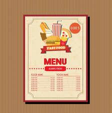 fast food menu template food vignette brown decoration free vector