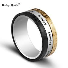 wedding rings men titanium steel tricolor calendar time wedding ring men s fashion