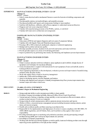 sle of resume manufacturing engineer intern resume sles velvet