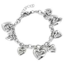bracelet with hearts images Stainless steel double strand heart lock and key bracelet free jpg