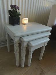 white nest of tables vintage shabby chic nest of tables side table set of 3 coffee
