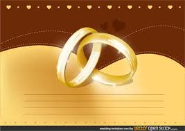 wedding invitation card with gold rings vector template
