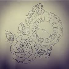 new crest clock and roses tattoo designs photo 2 photo