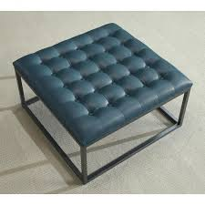 Leather Cube Ottoman Ottomans Blue Leather Cocktail Ottoman Large Square Stock Photo