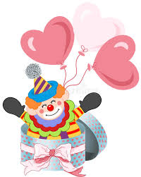 clown balloon l happy clown in gift box with bow ribbon and balloons stock