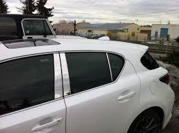 lexus calgary ct200h chrome pillar post window trim and shark fin installed on 2012 ct