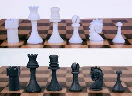 a chess set in homage to marcel duchamp with mustaches
