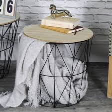 wire and wood basket side table wire basket side table wayfair co uk