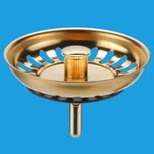 Gold Effect Kitchen Sink Basket Strainer Waste Plug - Kitchen sink basket strainer waste