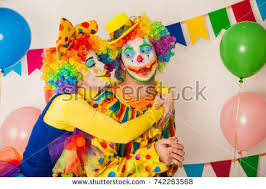 clowns for birthday two cheerful clowns birthday children bright stock photo 742263568