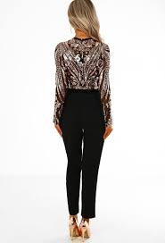 sleeve sequin jumpsuit just black and gold sequin sleeve jumpsuit