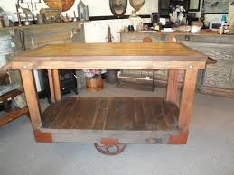 antique primitive industrial factory cart kitchen island