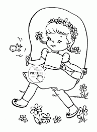 cute in spring day coloring page for kids seasons coloring