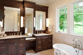master bath double vanity storage tower or one large mirror
