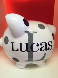 monogrammed piggy bank children s personalized ceramic piggy bank piggy